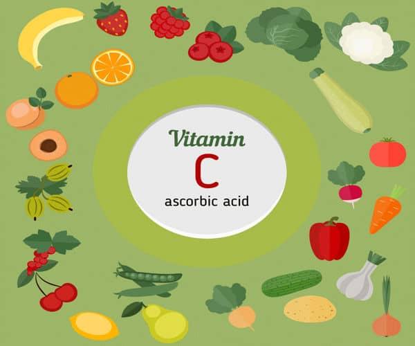alimentos ricos en vitamina C o ácido ascórbico